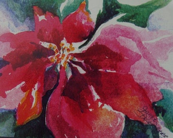 FREE SHIPPING, Poinsettia, Christmas, Cards, Winter, Flower, Christmas Season, Blank Inside, Watercolor Art Print by Janet Dosenberry