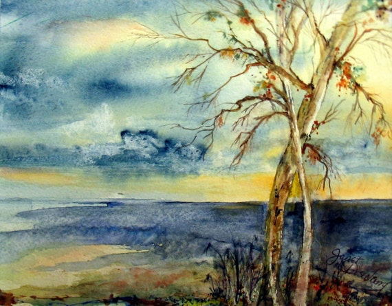Stormy ,Night-time, Sunset, Trees, Blue, Yellow, Lake, Water, Waves, Colorful, Lively, Lakeshore, Watercolor Art Print by Janet Dosenberry