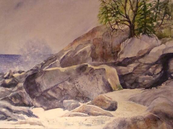 "Rocky Shore,Splashing Water,Ocean, Daylight, ,Trees, Nature,Sunlight,Rocks, Watercolor print  10 7/8""x14 6/8"" by Janet Dosenberry"