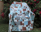 Boys Lap Quilt  - All Stars Brown and Blue