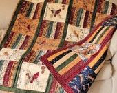 Reversible Masculine Lap Quilt - Cats and Birds