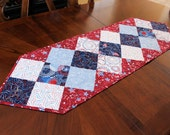 Patriotic Table Runner Quilt- Red White and Blue American Valor