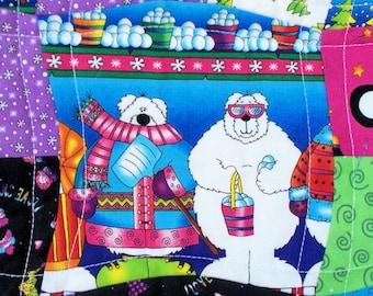 Christmas Baby Quilt, Polar Bears Sofa Throw, Toddler Quilt, Christmas Baby Bedding, Quilted Penguins Baby Blanket
