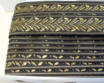 THREE yards Ribbon Black and Gold Metallic - Destash, Free Shipping,  Quiltsy Destash Party