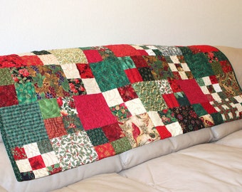 Holiday Sofa Throw Quilt, Red and Green Cardinals and Poinsettias, Handmade Christmas Quilted Patchwork Throw