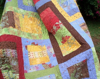 Modern Lap Quilt in Gold, Green, Raspberry, Periwinkle, Brown Blanket, Urban Couture Cotton Fabric by Basic Grey, Quilted Throw
