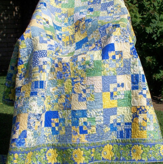 Twin Bed Coverlet or Lap Quilt - Scrap Blue and Yellow French Country Floral