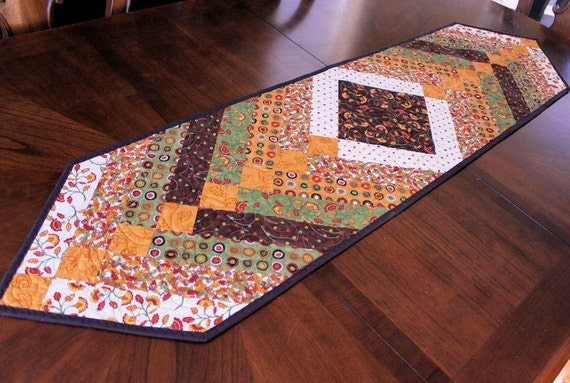 Autumn Fall Table Runner Quilt - Green Gold and Brown