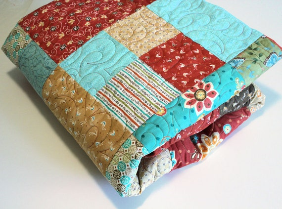 RESERVED for Jami Only - DOWN PAYMENT on Queen Size Quilt and Two Pillowcases, in Cinnamon Red, Turquoise Blue and Gold
