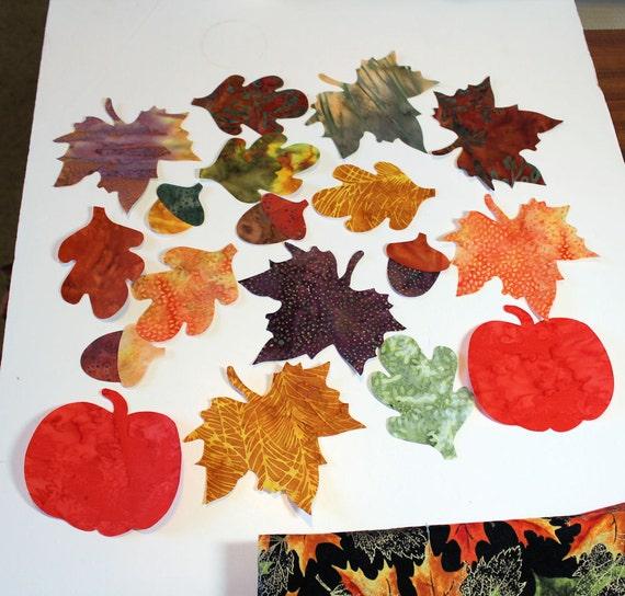 Batik Applique Iron-Ons -  Leaves, Pumpkins and Acorns