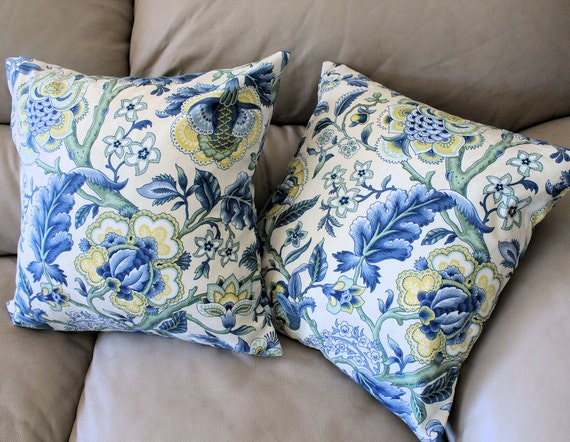 """Throw Pillow Cover in Imperial Dress Fabric from Waverly - One 16"""" cover, Blue, Yellow, Green Floral, Made to Order"""