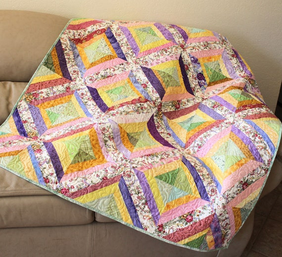 My Crazy Garden Strings Lap Quilt or Sofa Throw