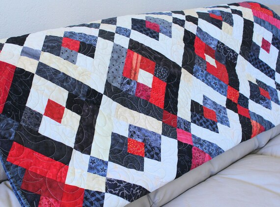 RESERVED for LINDA - Lap Quilt Sofa Throw - Red White and Black