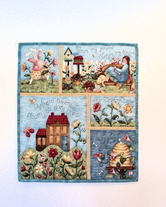 Small Wall Hanging Quilt Garden Song