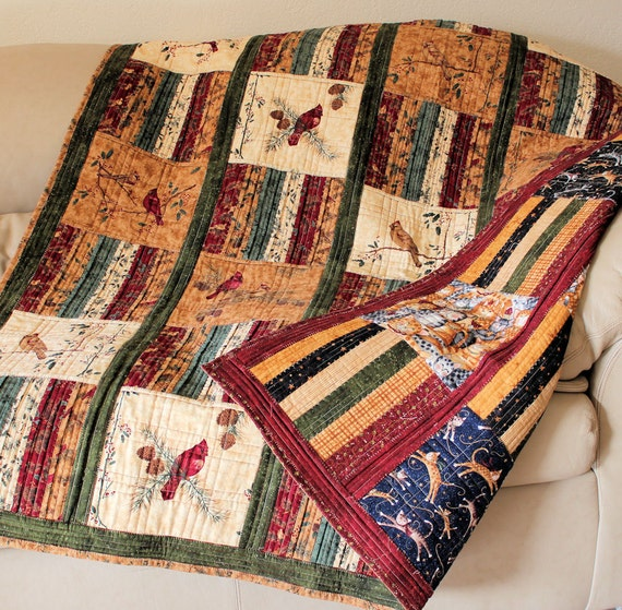 Free Shipping Reversible Masculine Lap Quilt By