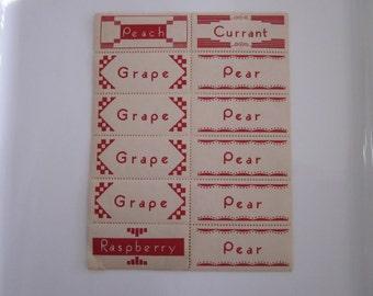 Original Vintage paper jelly jar canning labels.