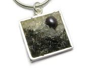 Gemstone Pendant - Mosaic Landscape - Pearl, Moonstone and Labradorite