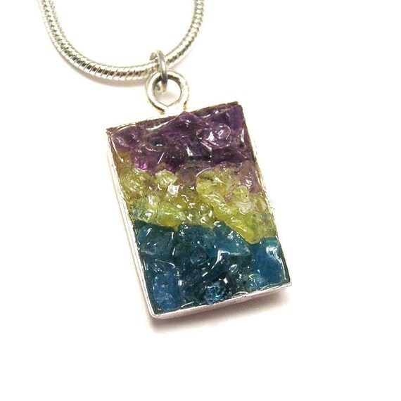 Sale 1/2 Price - Gemstone Pendant - Mosaic OOAK