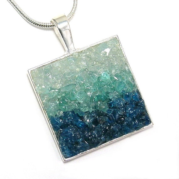 1/2 Price Sale - Gemstone Pendant - Aquamarine and Apatite Mosaic Jewelry