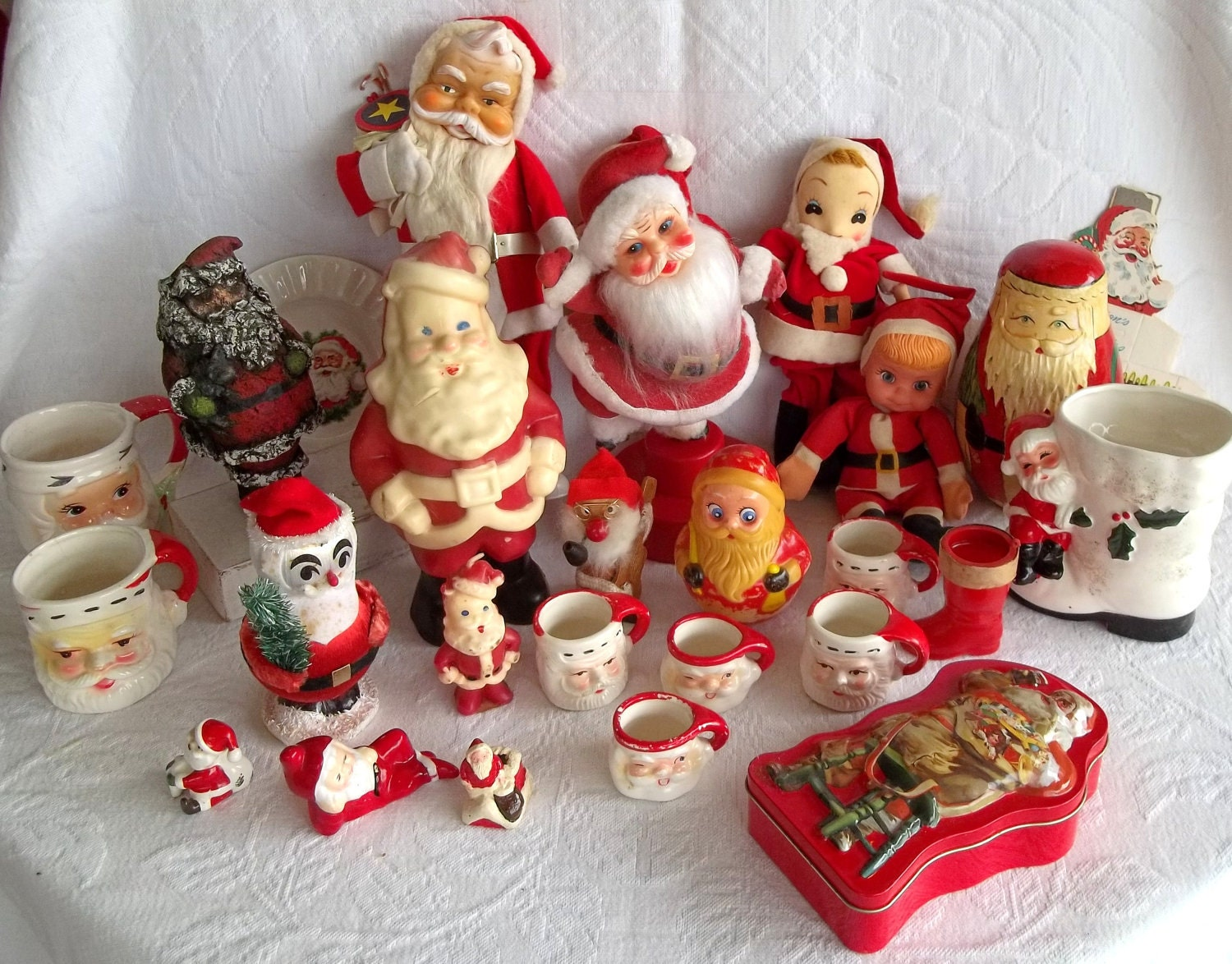 Vintage Christmas Santa Claus Decorations 1940s-1980s 28