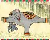 Yoga Art  Elephant Painting  in Warrior III