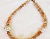 Yin Yang Peach Moonstone Silver and Copper Bead  Necklace