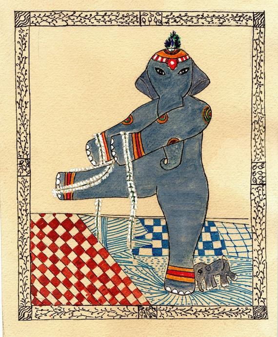 Elephant Yoga, Hatha (i) Yoga, Yoga Art, Standing Balance Pose, Elephant Art, Hatha(i) Yoga