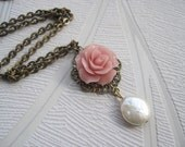 Romantic Pale Pink Flower With White Coin Pearl