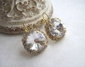 Swarovski Crystal Diamond Bridal Earrings - Gold Swarovski Earrings, Clear Swarovski Earrings