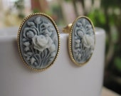Vintage Style Floral Cameo Earrings Shabby Chic, Elegant Jewelry