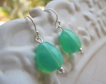 Turquoise Earrings, Sterling Silver Ear Wires