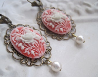 Romantic Vintage Style Cameo Earrings With White Swarovski Pearl - Bronze and Coral Red