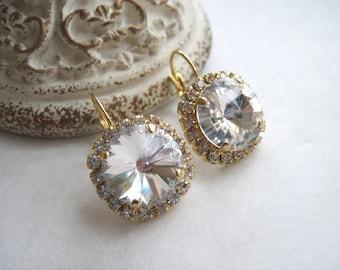 Swarovski Crystal Diamond Bridal Earrings - Gold Swarovski Earrings, Clear Swarovski Earrings