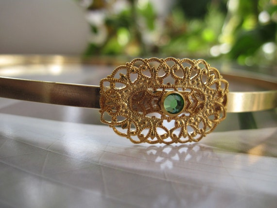 Gold Plated Filigree Headband With Green Swarovski Crystal, Gold Headband, Gold Filigree