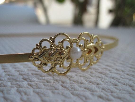 Princess Filigree Headband - Gold Plated Headband Set With A Pearl