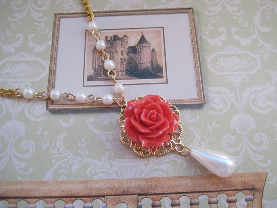 Coral Red Rose and Lucite Pearl Teardrop Necklace in Gold
