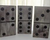 "3 pc. Gray Wood Domino Set - 5 1/4"" x 10 1/4"""