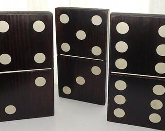 "1 pc. Black or Antique White Wood Domino - 5 1/4"" x 10 1/4"""