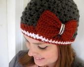 Washington State Cougars Football Beanie, Crochet football hat, winter hat, Womens football hat, Bow hat, Bow beanie (choose team)