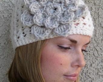 Women's Crochet Hat with flower, crochet beanie, winter hat, crochet hat with flower, white hat (custom colors)