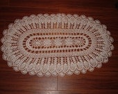 Crocheted White Oval Pineapple Doily