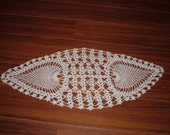 Small Crocheted Oval Ecru Pineapple Doily