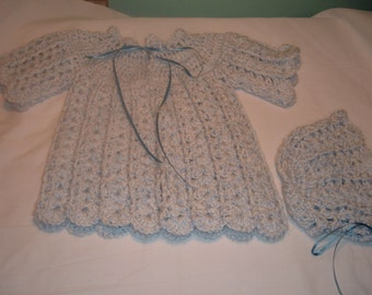 Crochet Sweater and Bonnet for Baby in Blue
