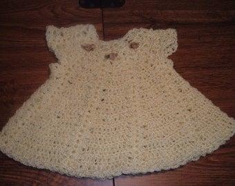 Yellow Crocheted Doll Dress
