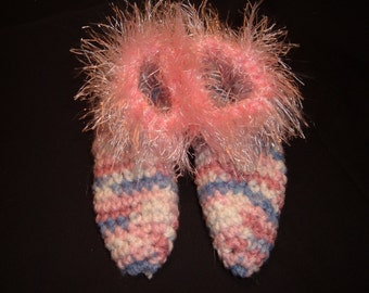 Crochet Slippers for Child in Pink