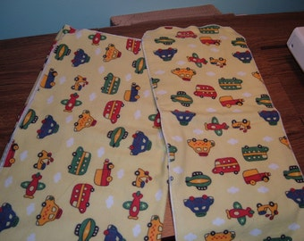 Yellow Car and Truck Flannel Blanket and Burp Cloth