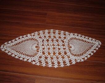 Small Crocheted Oval Ecru Pineapple Doily