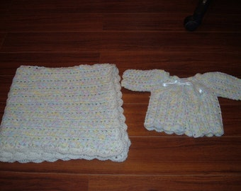 Crocheted Multi Colored Baby Blanket and Sweater for Baby