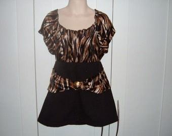 ON SALE Black Denim and Animal Print Skirt and Top