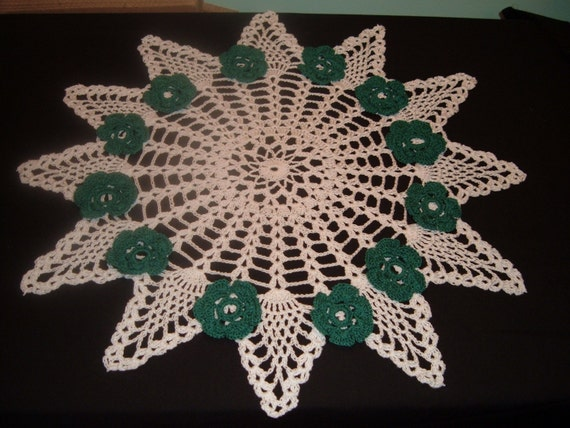 Crochet Doily White Pineapple  with Green Flowers